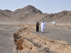  8 km long surface rupture that opened during the 19 May 2009 earthquake at Lunayyir, Saudi Arabia. (Photo: John Pallister).