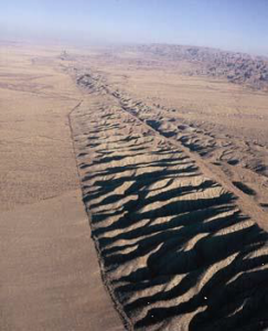 The San Andreas Fault system is a right lateral strike-slip fault.