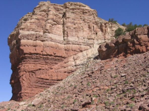 Thrust faulting of Jurassic sedimentary rock at Ketobe knob along the San Rafael swell in central Utah (Shortening occures; Davis & Reynolds 1996).