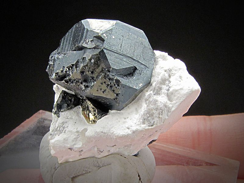 Bornite black coating on a Pyrite crystal, Milpillas Mine, Cuitata, Municipio de Cananea