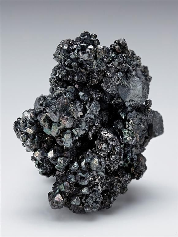 Acanthite with Polybasite, Freiberg District, Erzgebirge, Saxony, Germany. A neat silver mineral specimen displaying a somewhat arborescent-like form with abundant intergrown crystals of metallic grey Acanthite crystals measuring to 6mm, with some iridescence, associated with rare platy groups of Polybasite. Size 4.3 × 3.5 × 2.5 cm